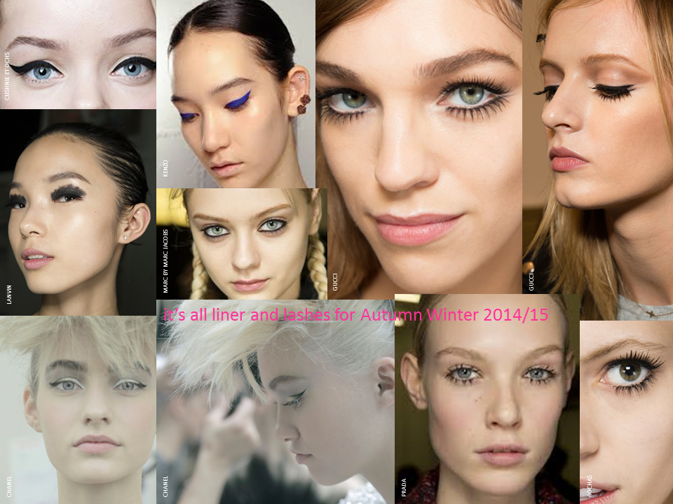 key make up trends for Autumn/Winter 2014/15 it's all liner and lashes; Gucci Prada Rochas Chanel Marc by Marc Jacobs Kenzo Lanvin Cushnie et Ochs