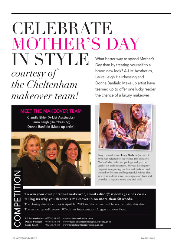 DONNA BANFIELD make up artist Cotswold Style March 2013 Mothers Day Makeover Competition