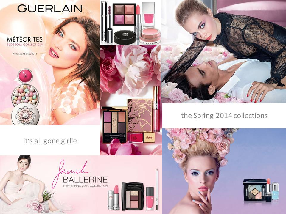 DONNA BANFIELD make up artist; the Spring 2014 make up collections - get in touch with your feminine side ...it's all gone girlie with the Meteorites Blossom Collection from Guerlain, the French Ballerine Collection from Lancome, the Over Rose Collection from Givenchy, the YSL Spring Collection and the Trianon Collection from Dior.